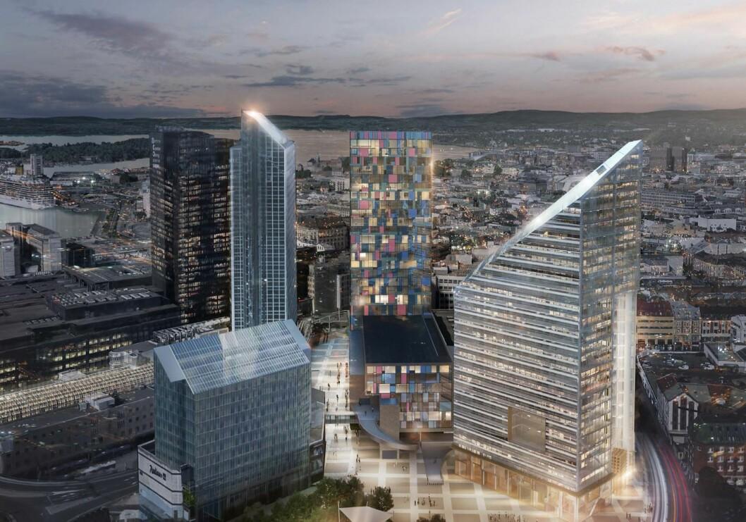 MÅ BIDRA POSITIVT: PBE mener at høyhusene i området må komplementere hverandre og bidra til en positiv opplevelse. Til høyre det foreslåtte bygget «Oslo Solar» i regi av Entra. Ill: LPO arkitekter.