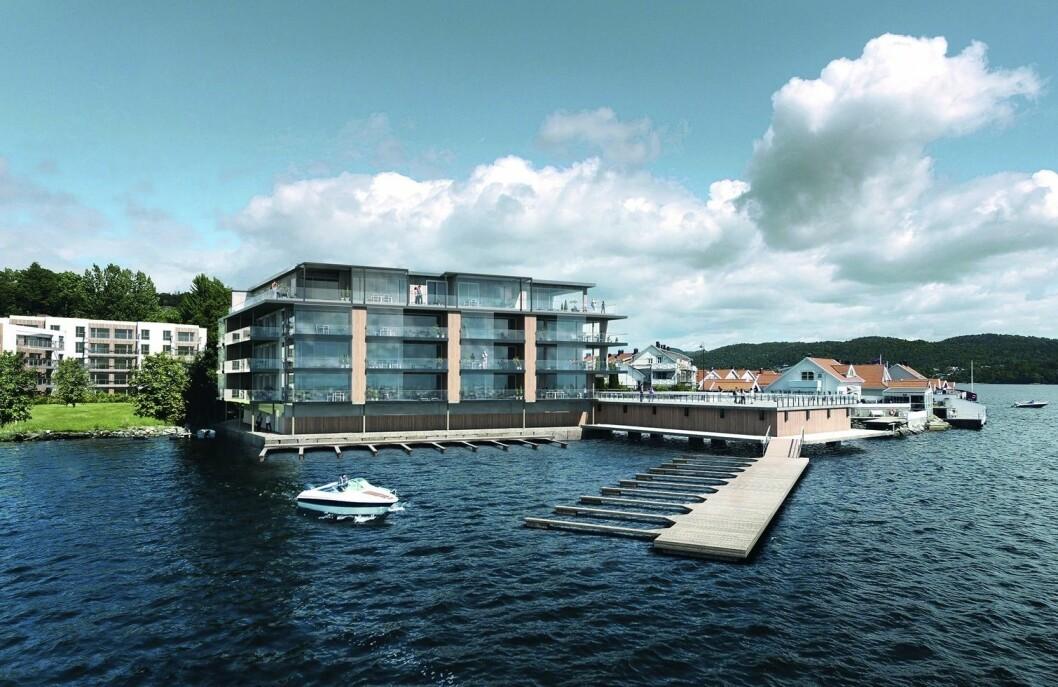 BRYGGEKANTEN: Leiligheter i sjøkanten viste seg å være innertier. Ill.: Arkitektkontoret Børve og Borchsenius