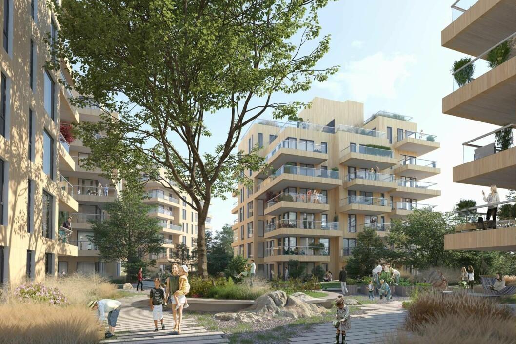 BYDEL: Gardermovegen Panorama skal inneholde rundt 200 leiligheter i seks blokker.
