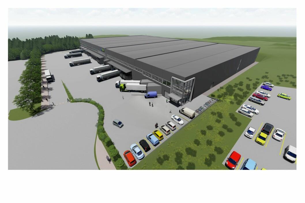 NÆR DOBLING: OneMed utvider nå lageret sitt med 8.700 kvadratmeter. Ill.: Arkitektene Astrup og Hellern