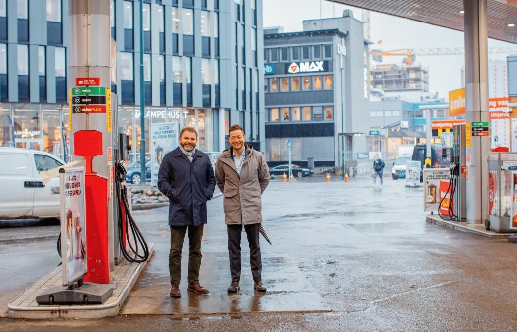NYTT KONTORBYGG: Ferd Eiendoms adm. direktør Carl Brynjulfsen og investeringssjef Stian Andresen vil bygge stort på Storo. Foto: Oda Hveem