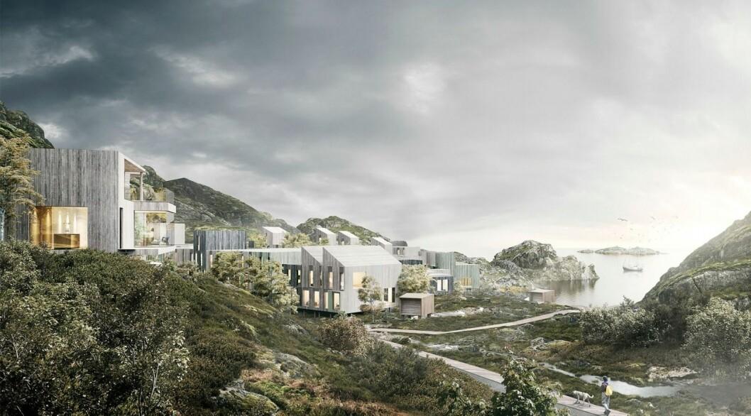 SMARTE NABOLAG: I Svolvær vil Clemens Eiendom bygge boliger med sitt Smarte Nabolag-konsept. Ill.: Lund Hagem og Link Arkitektur
