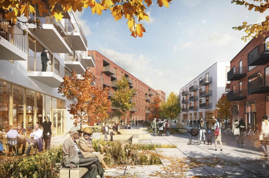 460 BOLIGER: Planforslaget rommer 460 boliger og opptil 3 420 kvadratmeter næringsarealer. Ill: Stein Halvorsen Arkitekter