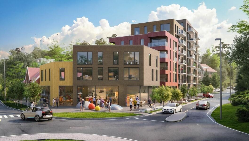 70 BOENHETER: Planforslaget tilrettelegger for bevaring av Folkets hus, oppføring av nye leilighetsbygg med ca. 70 boenheter. Ill: Link Arkitektur