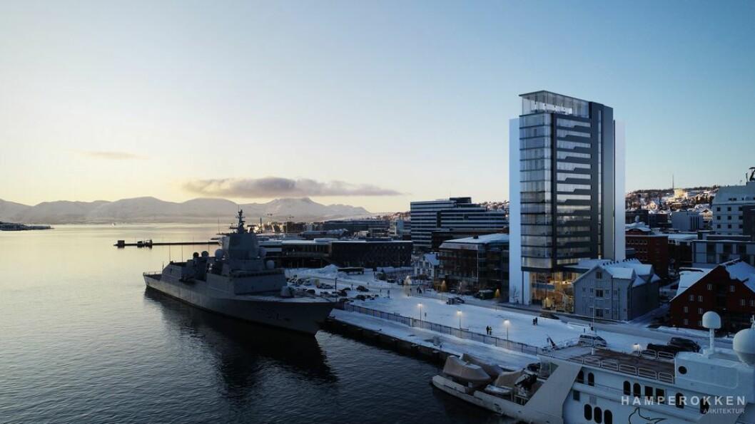 HØYT: Slik kan det nye hotellet bli. Ill.: Hamperokken arkitektur