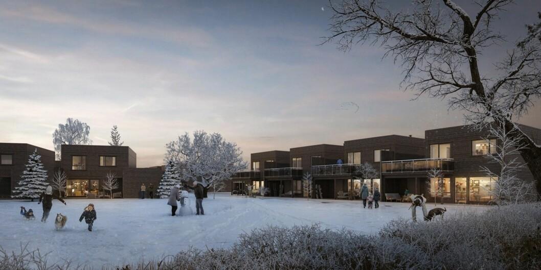 STORT: De 72 boligene som skal bygges her blir en liten del av et kjempeprosjekt med opp mot 800 enheter. Ill.: Bakke