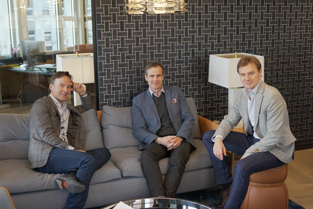 FORVENTNINGER: Lars Kristiansen, Thomas Tenden og Terje Nesbakken har store forventninger til kontorfellesskapet, som er et coworking for eiendomsaktører. Foto: Glen Widing
