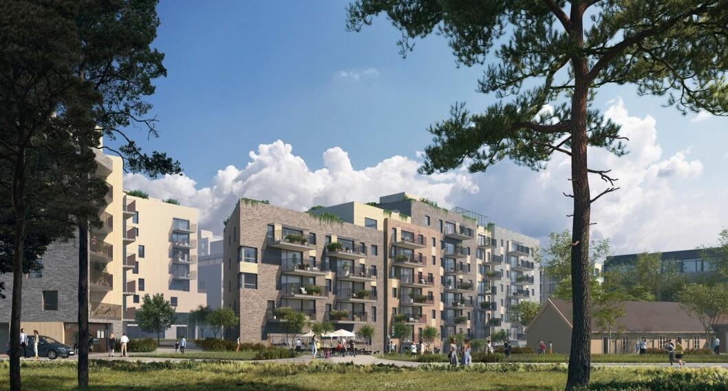 GODE LYSFORHOLD: Kvartalsformen skal bidra til gode sol- og lysforhold. Ill: Enerhaugen Arkitektkontor