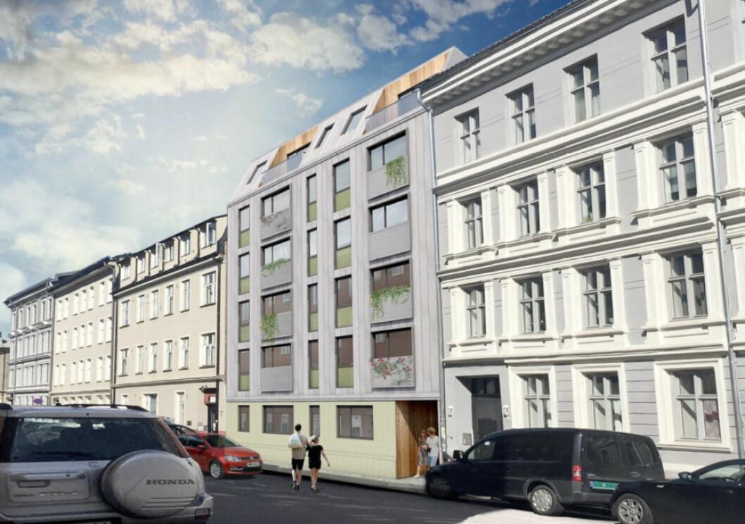 NEKTER Å SELGE: Denne nyoppførte eiendommen på Grünerløkka ble solgt i 2017. Selger nekter nå å gi fra seg bygget, og begrunner det med misnøye over hvordan eiendomsmegleren Anders Langtind håndterte salgsoppdraget.(Ill.: Enerhaugen Arkitektkontor)