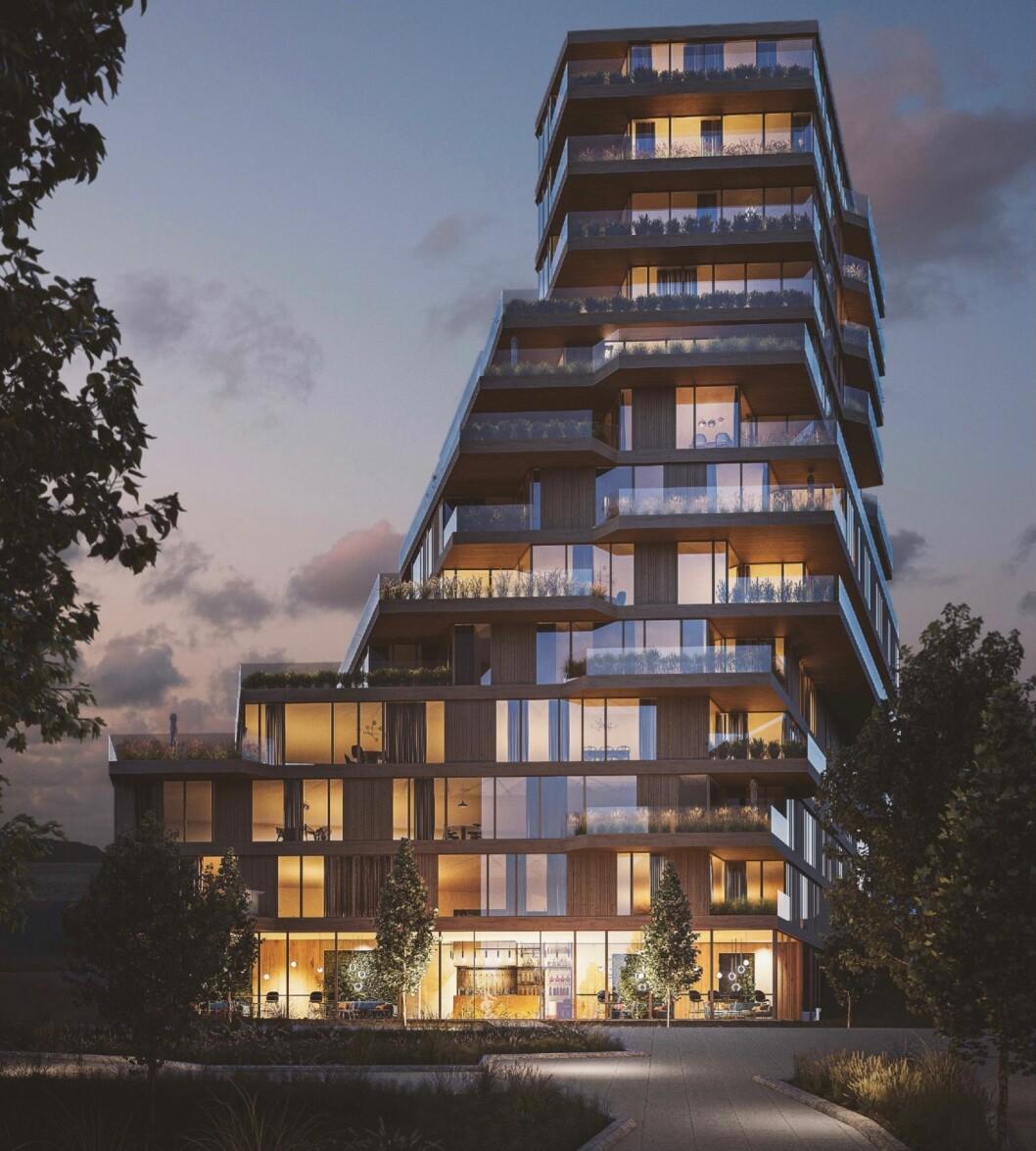81 BOLIGER: Bonum ønsker å bygge 81 boliger i tillegg til forretning i første etasje mot Gunnar Schjelderups vei. (AtelierOslo/Lund Hagem Arkitekter)