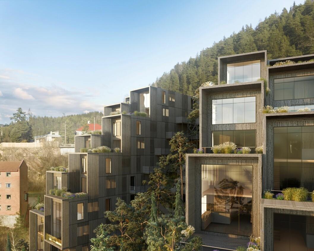SVØMMEBASSENG: Prosjektet omfatter også et hus med fellesfunksjoner. Der skisseres det blant annet et badebasseng med spektakulær utsikt over Oslo. Ill: LPO Arkitekter