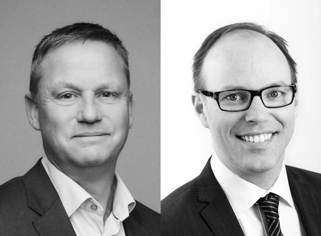 JUBLER: Petter Nylend fra Akershus Eiendom og Sigurd Stray fra Eiendomsspar er fornøyd med resultatene i Eiendomsbarometeret 2020.