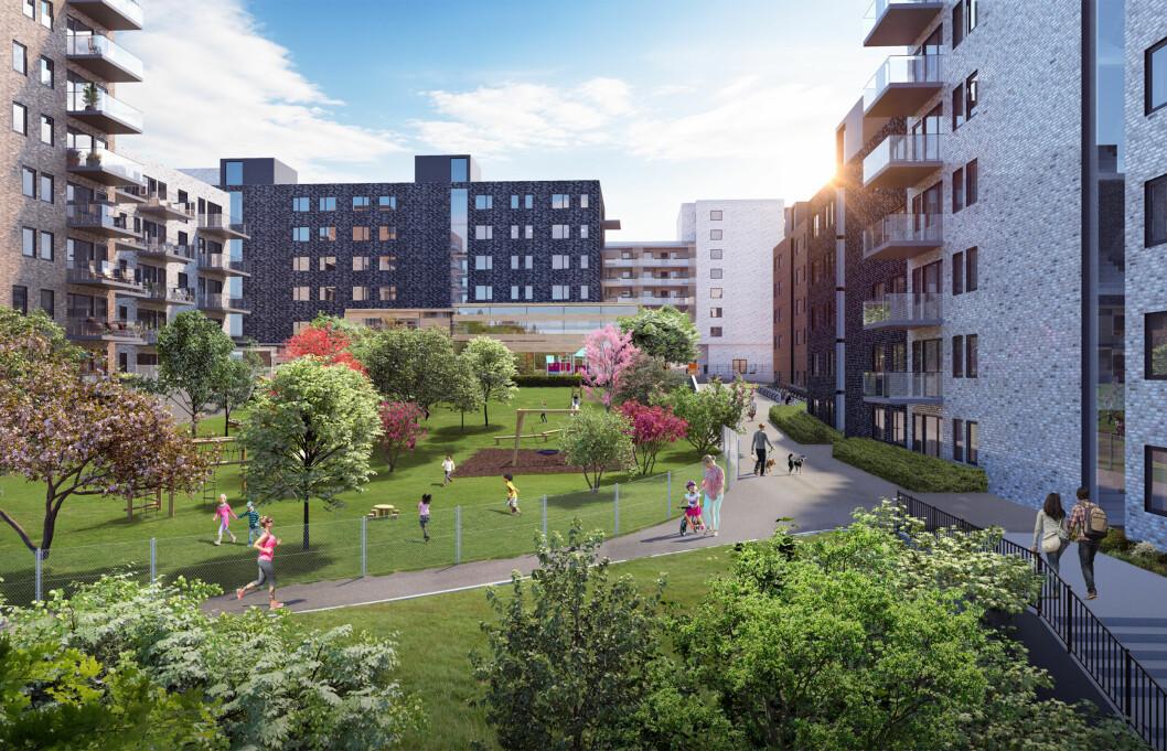 630 BOLIGER: I Karihaugveien 22 ønsker JM Norge ønsker å oppføre 630 boliger samt lokaler for barnehage, bevertning dagligvare og tjenesteyting. Ill: Arcasa Arkitekter