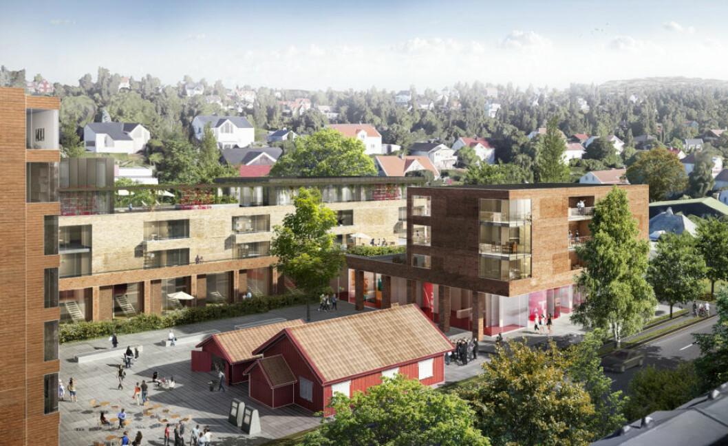 KUTTER: Bertel. O Steen Eiendom har nedskalert dette boligprosjektet i Bærum for å få det godkjent. (Ill. Bertel O. Steen Eiendom)