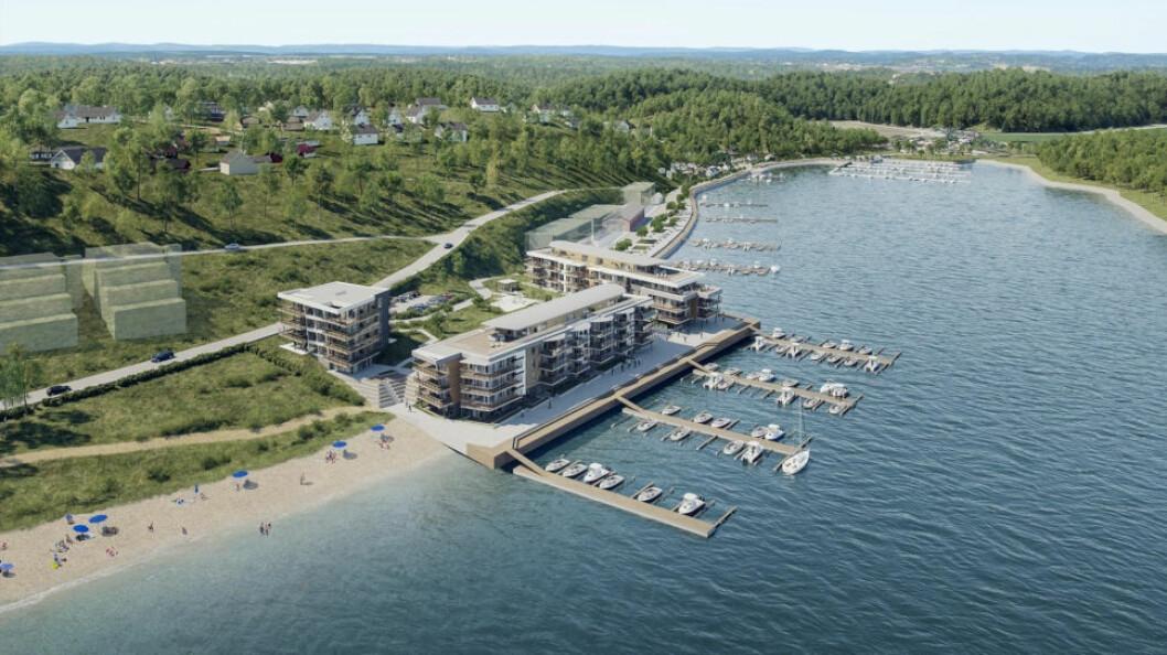 66 MILL.: Slik var planene for Solnes Brygge i Melsomvik i Sandefjord kommune. Nå er tomten til salgs for 66 millioner kroner.(Ill.: Eiendomsmegler1)