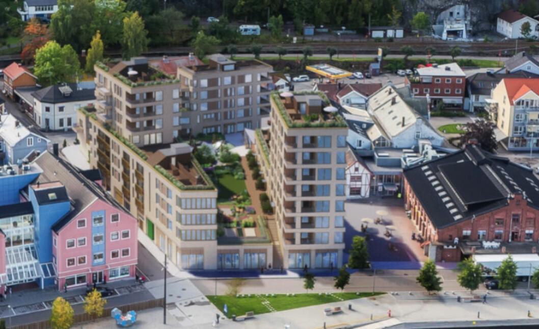 OVERRASKET AV KONKURS: Utbyggerne av Holmestrand Brygge i Holmestrand ble tatt på sengen da Bermingrud Entreprenør gikk konkurs. (Ill.: Asplan Viak)