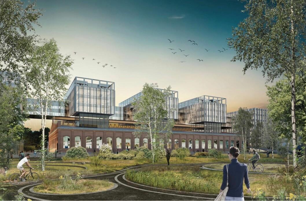 VERKSTEDHALL: Planen er at den gamle verkstedhallen skal bevares og påbygges. Ill: Arcasa Arkitekter