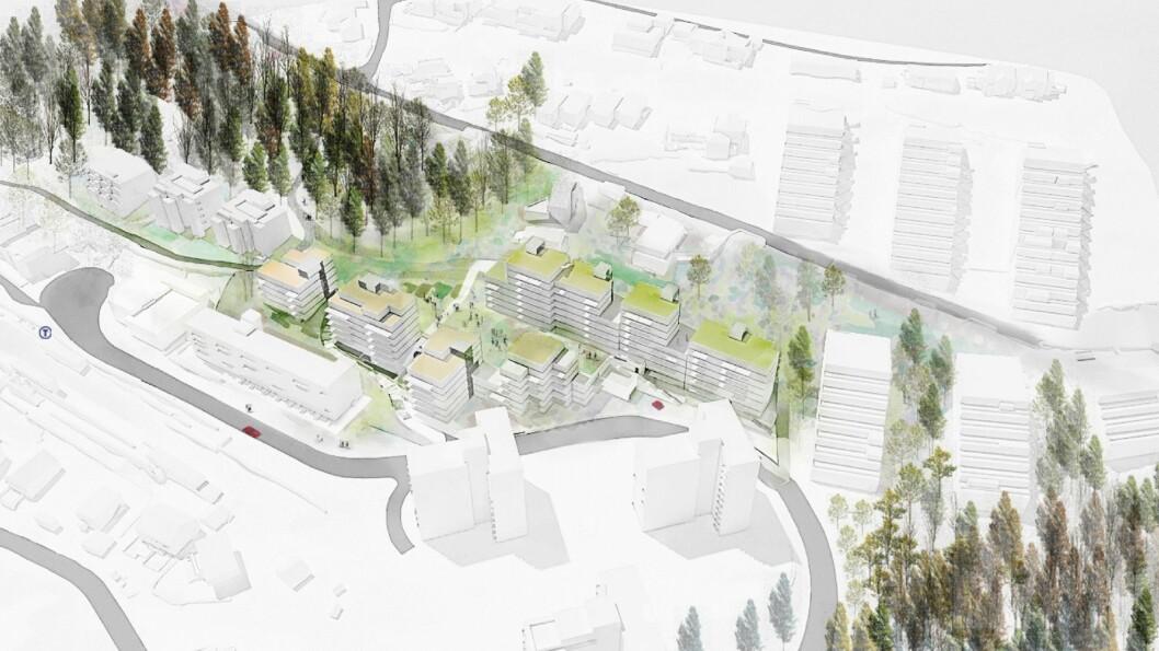 ÅTTE BYGG: I den bakre rekken foreslås det bygg på 7-8 etasjer. Ill: Link Arkitektur