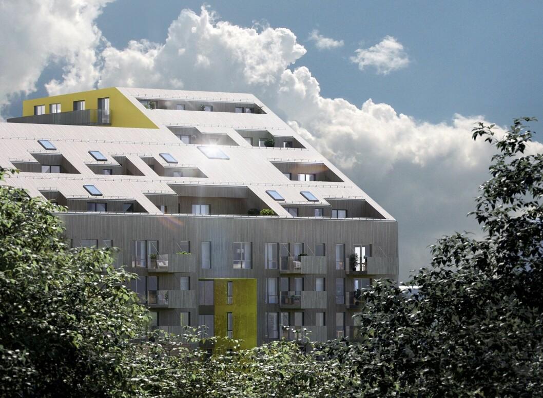 SENTRUM: Brøter Terrasse skal bestå av 78 leiligheter.