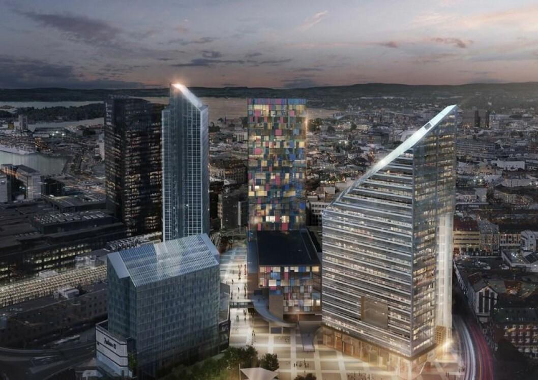 Stiftelsen Norges Varemesse ønsker et høyhus med tilnærmet lik høyde som Oslo Plaza og Posthuset. Ill: LPO Arkitekter