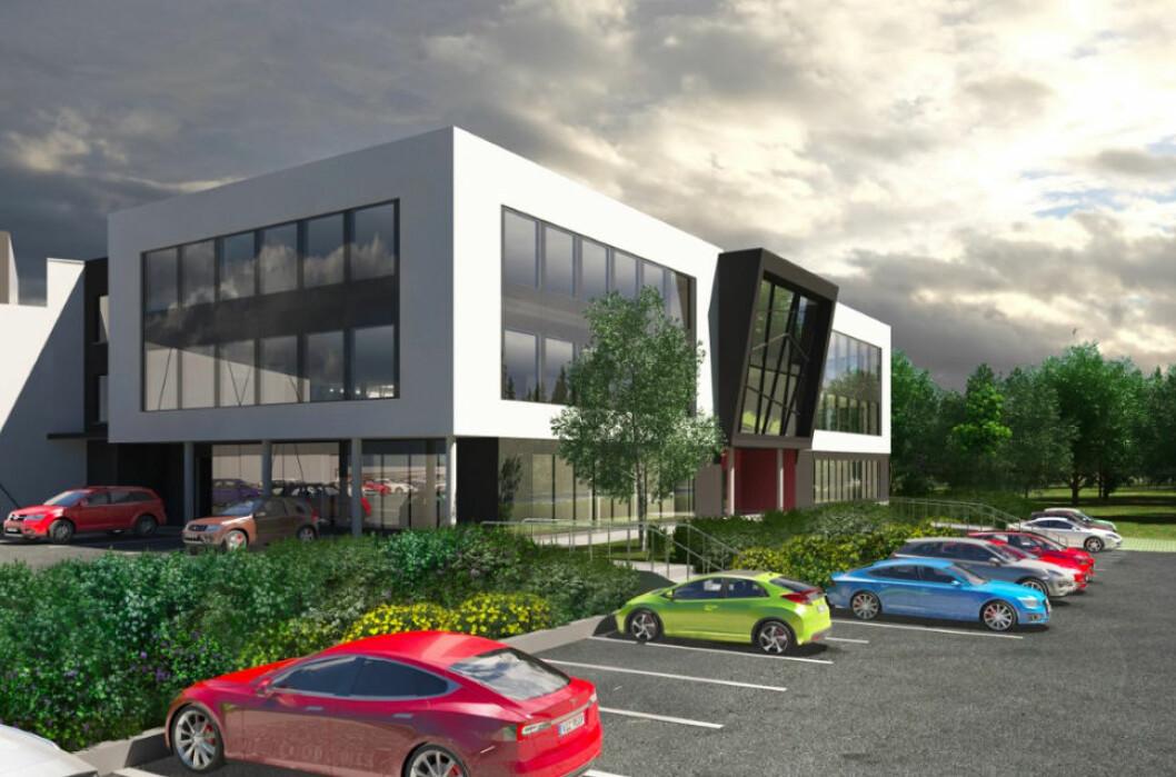 SIGNALBYGG: Det nye bygget til Visma Retail vil ha 300 kontorplasser og inneholde et lager på 1500 kvadratmeter, et produksjons- og klareringslokale på 1000 kvadratmeter, kantine, auditorium og parkeringsplasser. Illustrasjon: Profoyn AS.