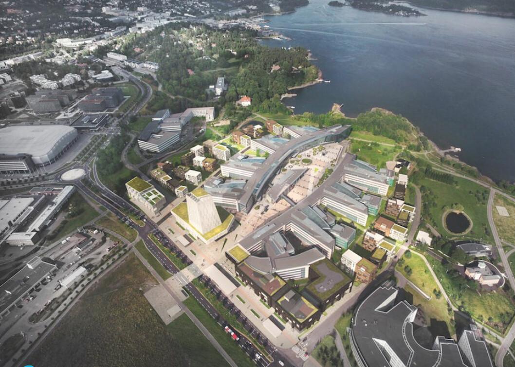 UTVIKLING: Telenor Eiendom har rundt 141 mål tomt på Fornebu, der de ønsker å være en sentral rollehaver i utformingen av fremtidens Fornebu. Det skal selskapet gjøre ved å tilrettelegge for økt byliv og tilgjengeliggjøring av arealene.Illustrasjon: Dark Arkitekter
