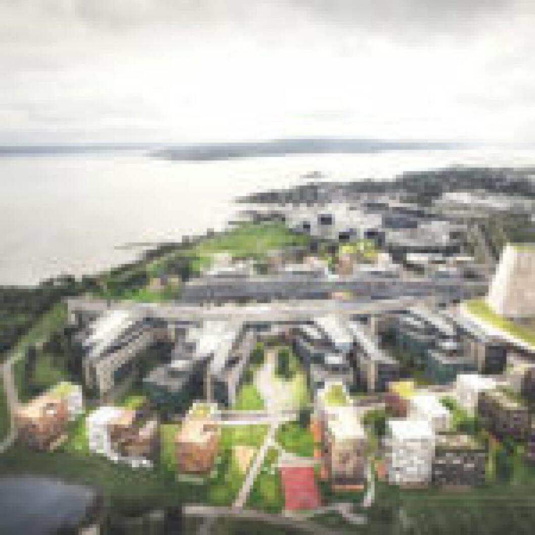 BOLIG: Det er planlagt 28.500 kvadratmeter bolig, på grøntområdet og parkeringsplassene på hver side av kontorbygningsmassene. Illustrasjon: Dark Arkitekter