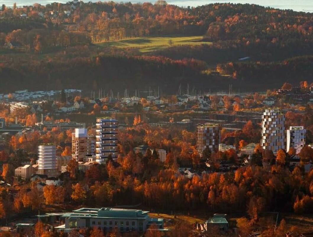 Utbyggerne erkjenner at prosjektet vil utfordre kommuneplanen og høyhusstrategien på høyder. (Ill.: White arkitekter)