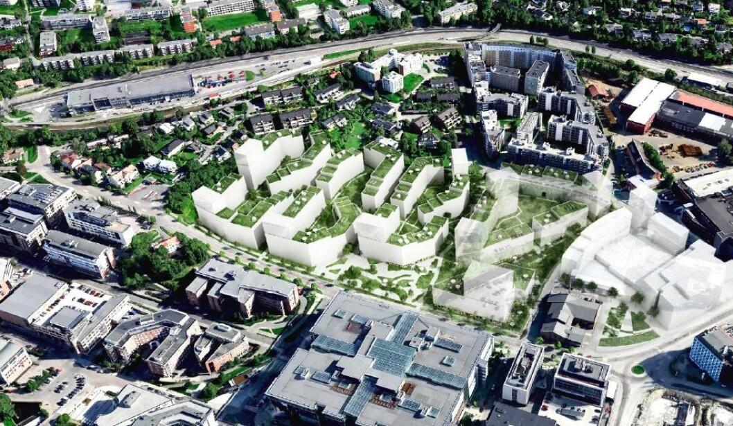OBOS foreslår å bygge totalt 98.000 kvadratmeter BTA.