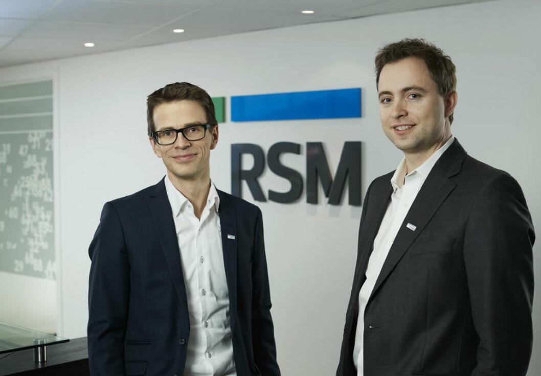 SKATTEEKSPERTER: Hans Ragnar Berg (til venstre) er managing partner og Morten Hereng Christophersen er partner og leder for eiendomsskattegruppen i RSM Norge.