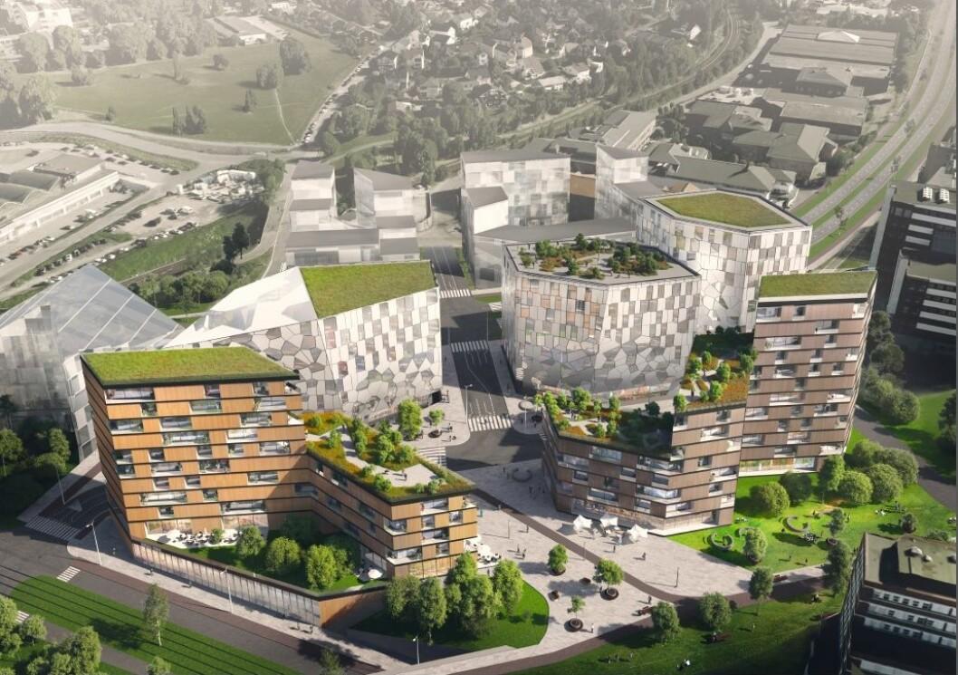 Daimyo Eiendom ønsker høy utnyttelse og bygg opp til 12 etasjer. (Illustrasjon: Topic Arkitekter)