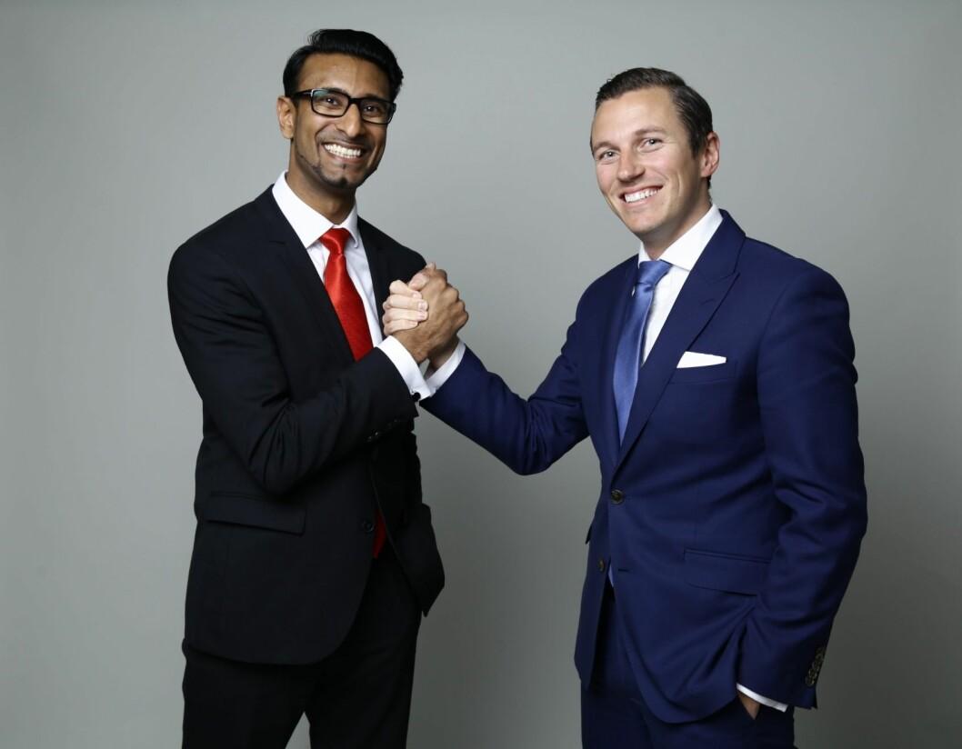 Rajeev Lehar (t.v.) har sammen med sin svenske forretningspartner og tidligere finansanalytiker Sergey Kazachenko, utviklet et nytt investeringsverktøy som nå kan vinne en prestisjetung pris i Storbritannia.