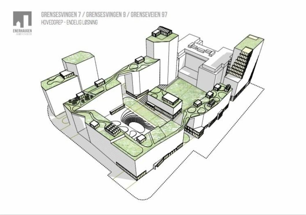 Det foreslås etablert et storkvartal omkring et avskjermet gårdsrom.