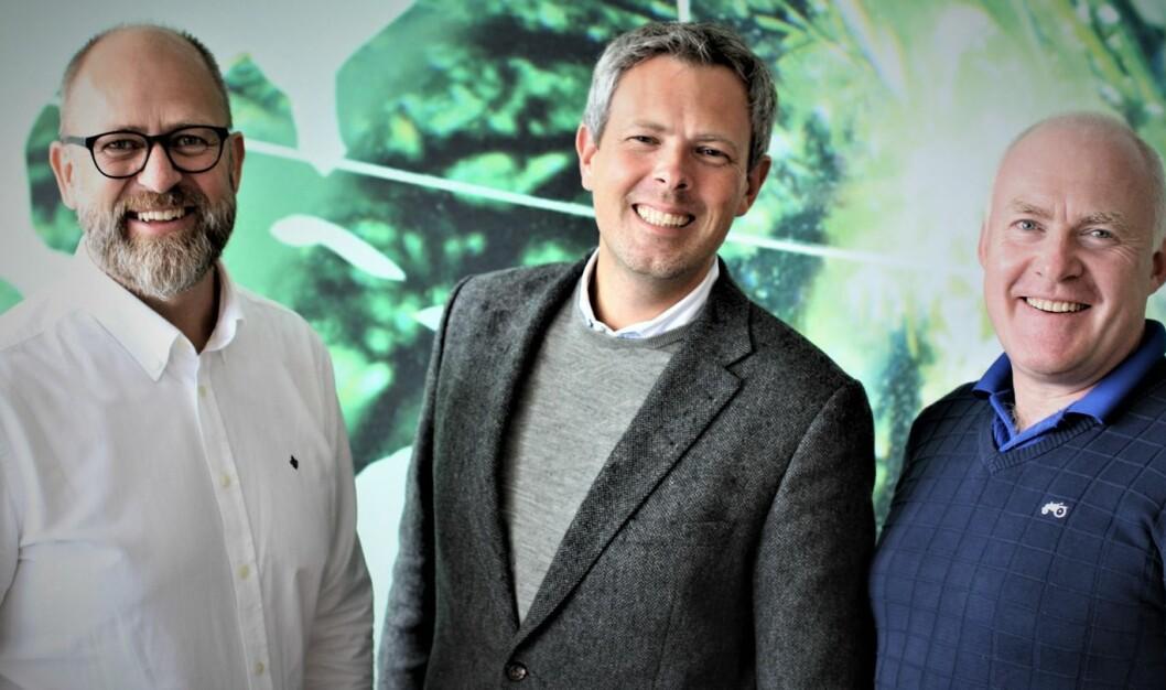 Styreformann og grunder Peder Nærbø (t.v), ny daglig leder Jon Gravråk  og medgrunder Torbjørn Moe.