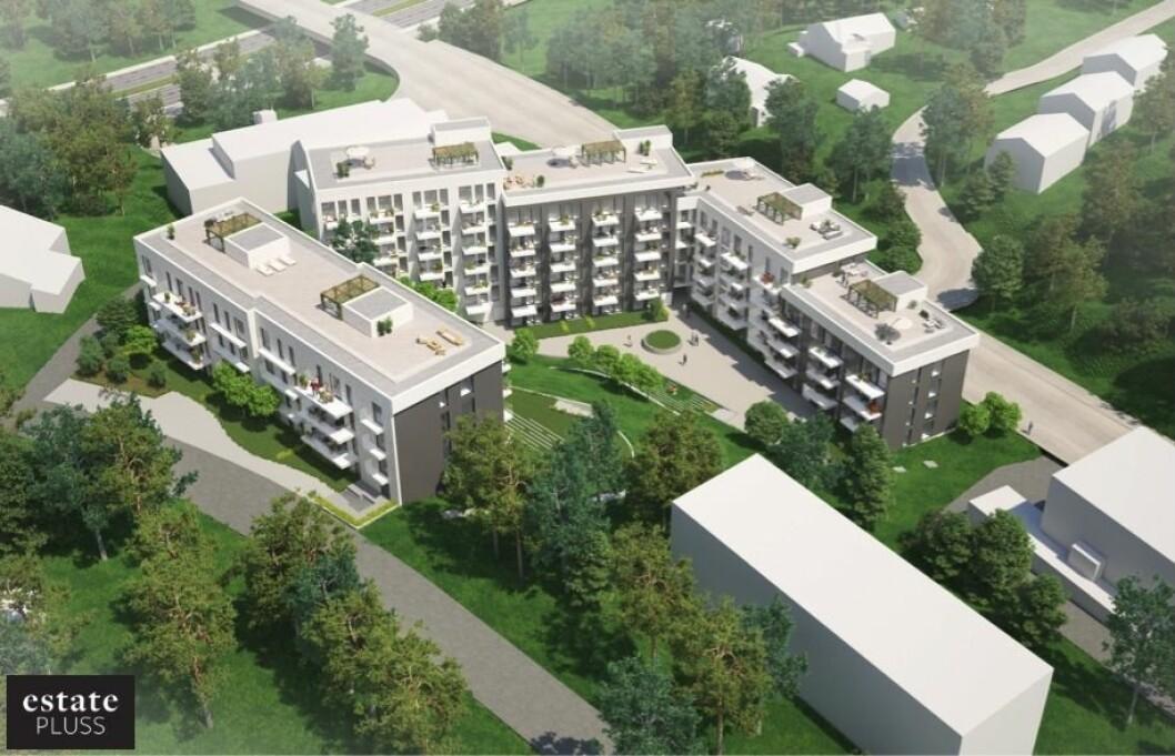Plassering og utforming av bebyggelsen skal sikre et romslig støyskjermet uterom som åpner seg mot vest. (Illustrasjon: Arcasa arkitekter)