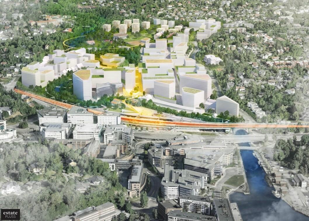 Mustad Eiendom har også redusert områdeutnyttelsen for planområdet. (Illustrasjon: (Illustrasjon: LPO Arkitekter)