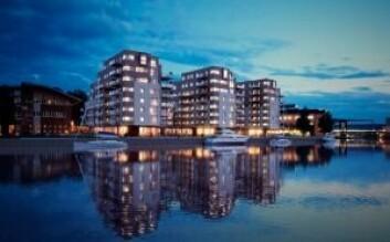 SUKSESS: Da tre boligblokker med totalt 104 leiligheter på Værste Brygge ble lagt ut for salg, sto kjøperne i kø for å sikre seg bolig. Ill.: Værste