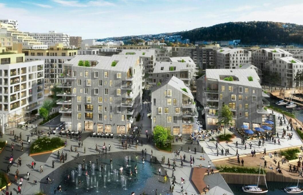 SKIFER: Det nye boligprosjektet Vannkunsten i Bjørvika skal dekkes med skifer fra Oppdal. Ill.: Vannkunsten