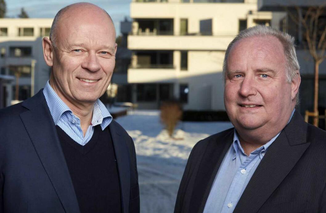 TIL CONCEPTOR BOLIG: Frank Johannessen (til høyre), her sammen med Lasse Skjelbred, administrerende direktør for Conceptor Bolig AS.