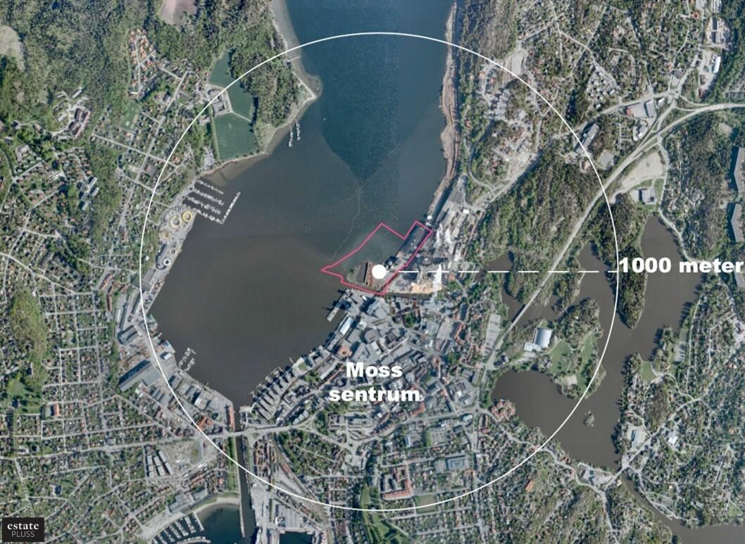 BYUTVIKLING: Dette er Verket i Moss, den gamle industritomta som skal bli en splitter ny bydel. Ill.: Höegh Eiendom