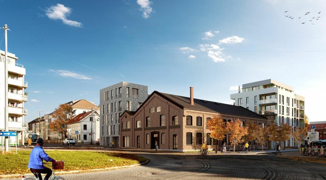Den bevaringsverdige bygningen mot Bergensgata og Moldegata skal ombygges. (Illustrasjon: Blår ved Ingar Sætre)