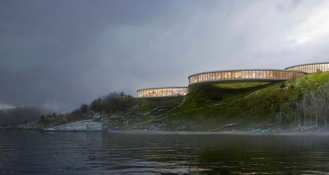 SPENSTIG: Slik kan hotellet bli på det lille ferjestedet Lauvvik om LINK arkitektur og Sandnes kommune får det som de vil. Ill.: LINK arkitektur, K2 Visual