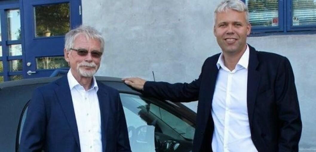 KJØPER: Edvard Bakkejord og Per Øivind Dahl i Tellus Eiendom har kjøpt en ny handelseiendom.