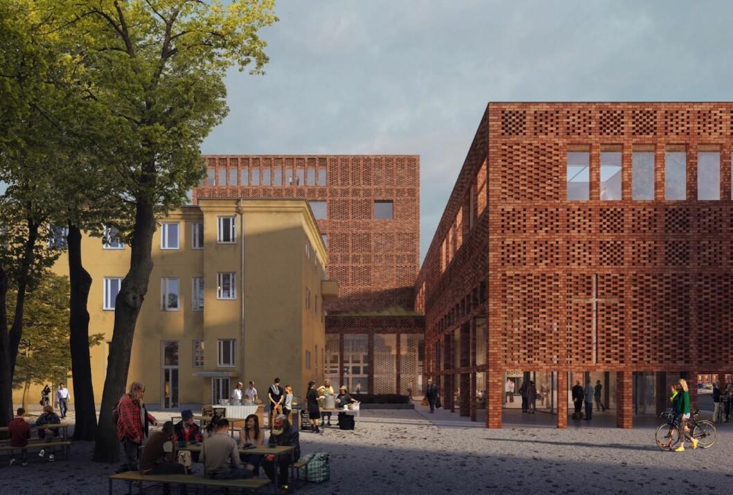 FRA HOSPITAL TIL KIRKENS HUS: Tidligere Oslo Hospital skal bli Kirkens hus. (Ill.: Transborder Studio)