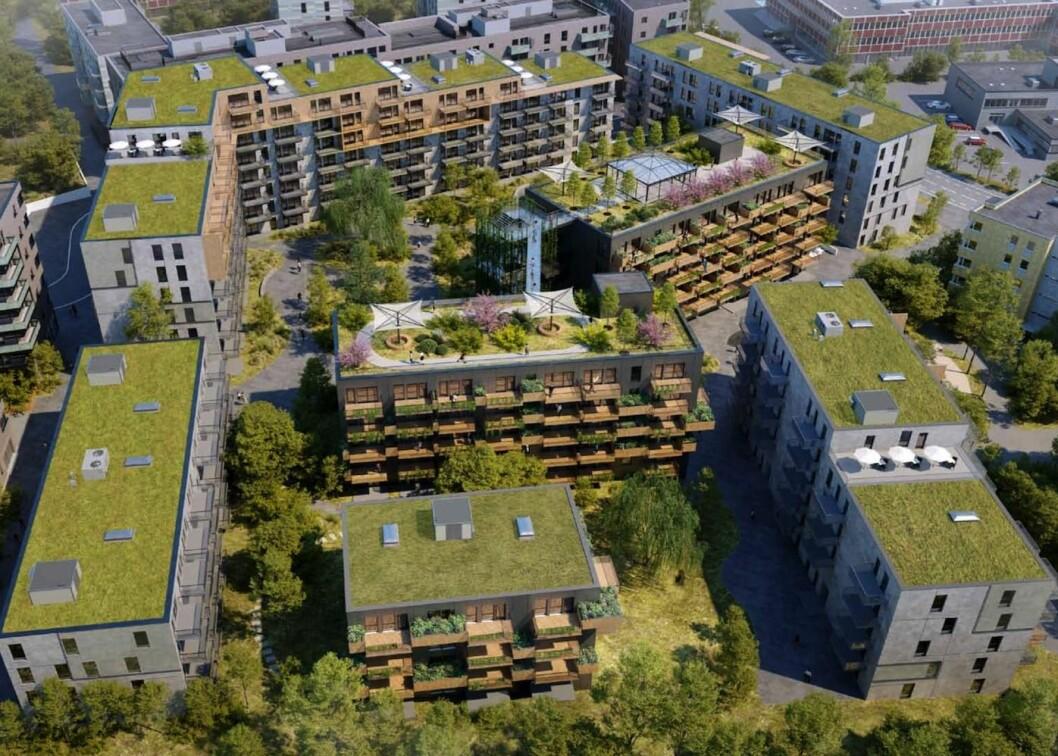 BLIR IKKE NOE AV: Bebyggelsen ble opprinnelig foreslått som et stort kvartal. (Illustrasjon: Tag Arkitekter)
