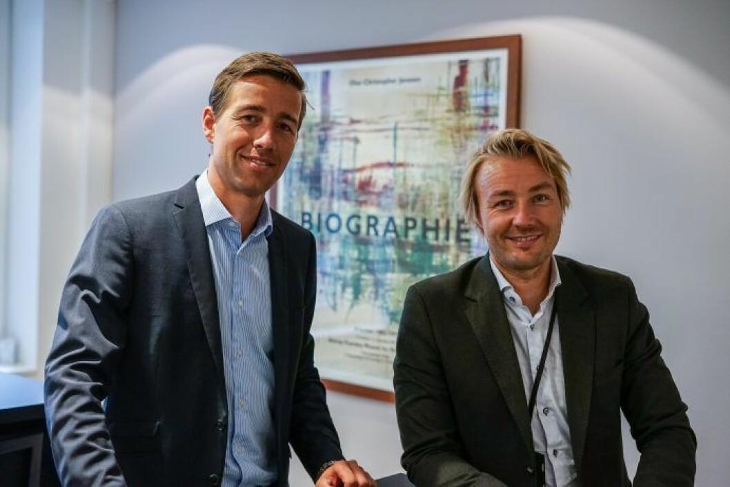 Martin Frivold (tv) og Halvor S. Snarvold i Fabritius Gruppen jobber med nye teknologiske løsninger.