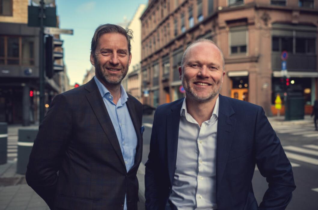 FRA BULK TIL STOR-OSLO: Christian Haug (til høyre) er ansatt som CFO i Stor-Oslo Eiendom, her sammen med administrerende direktør Mathis Grimstad.