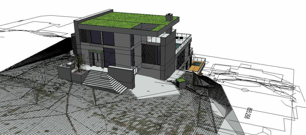 3D: Gemini Terreng gjør det mulig å se hvordan huset ligger i terrenget. Bildet er hentet direkte fra programvaren.