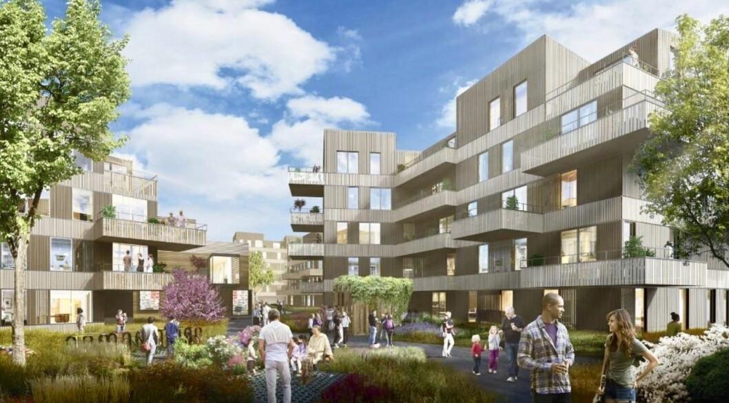 TÅRNÅSEN TORG: Dagens nedslitte Tårnåsen senter skal erstattes med boliger og et torgmiljø. Slik ser A-lab og Asplan Viak for seg sluttresultatet.
