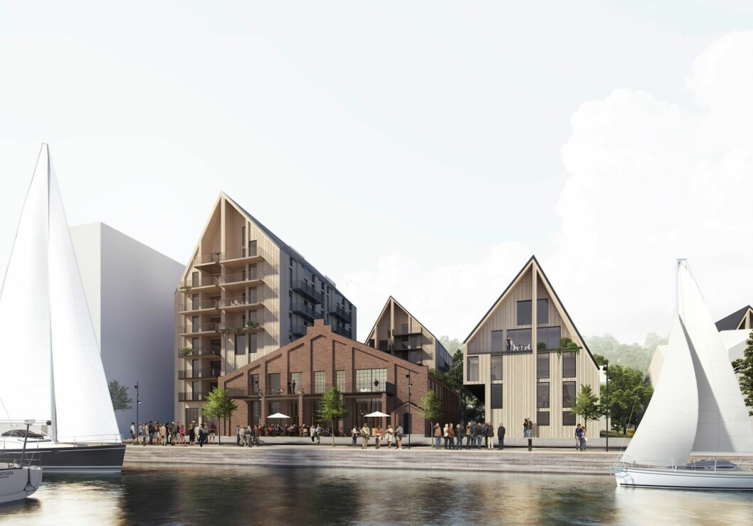 VED SJØEN: Prosjektet ligger rett ved kaia i Holmestrand sentrum.
